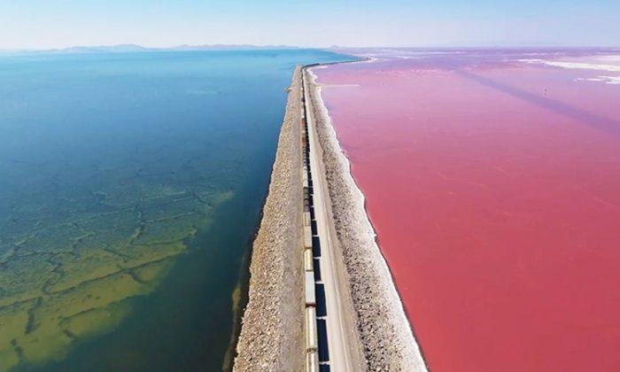 Screenshot of the drone footage video of Utah's Great Salt Lake. (Facebook | Justin McFarland)