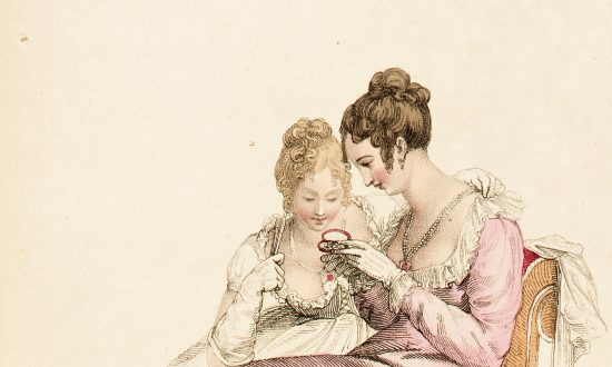 """In Jane Austen's """"Sense and Sensibility,"""" two sisters demonstrate opposite tendencies: One shows prudence and the other poetic feelings. """"Evening or Full Dress,"""" a fashion plate for """"The Repository of Arts,"""" June 1, 1810, by Rudolph Ackermann. Hand-colored engraving on paper. Gift of Charles LeMaire, Los Angeles County Museum of Art. (Public Domain)"""