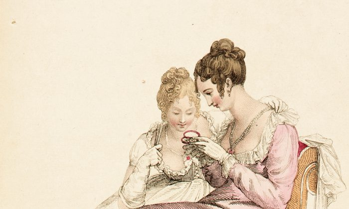"In Jane Austen's ""Sense and Sensibility,"" two sisters demonstrate opposite tendencies: One shows prudence and the other poetic feelings. ""Evening or Full Dress,"" a fashion plate for ""The Repository of Arts,"" June 1, 1810, by Rudolph Ackermann. Hand-colored engraving on paper. Gift of Charles LeMaire, Los Angeles County Museum of Art. (Public Domain)"