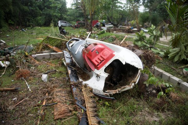 a broken jet ski in Indonesia