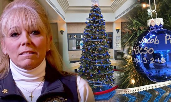 sheriffs office pays tribute to fallen officers with 142 ornaments on all blue xmas tree