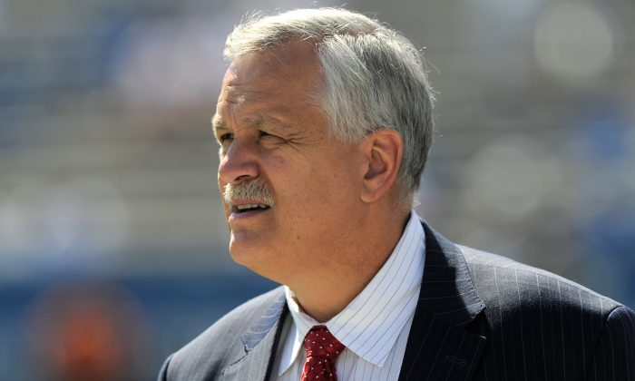 Matt Millen before the game between the Virginia Cavaliers and the Brigham Young Cougars at LaVell Edwards Stadium, on Sept. 20, 2014, in Provo, Utah. (Gene Sweeney Jr/Getty Images)
