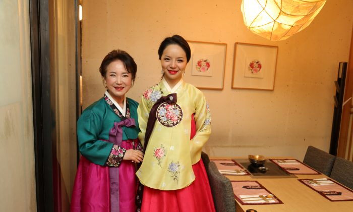 Sophia Lee, owner of missKOREA (L), with former Miss World Canada Anastasia Lin.