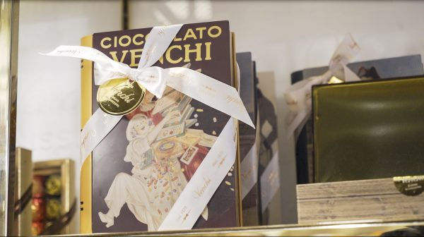 venchi chocolate gift box with old italian illustrated book packaging