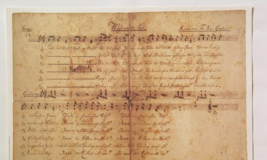 """This undated score, written by Joseph Mohr and titled """"Weynachts Lied"""" (""""Christmas Carol""""), is the earliest known surviving copy of """"Silent Night."""" Salzburg Museum. (Public Domain)"""