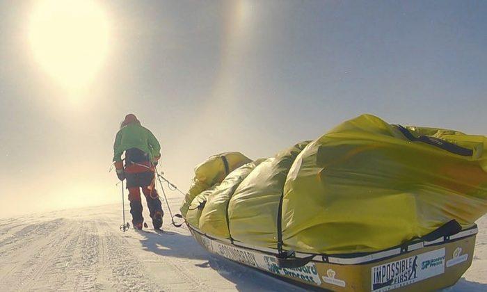Colin O'Brady, poses for a photo while traveling across Antarctica, on Dec. 26, 2018. (Colin O'Brady via AP)