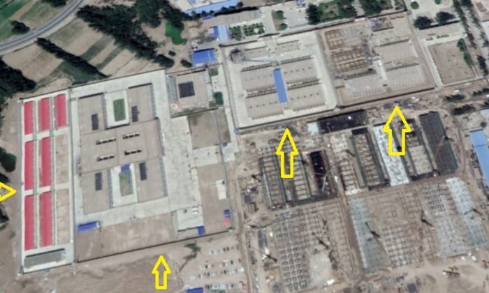 A suspected prison in Kashgar Prefecture, Xinjiang Province, at about 5.28 miles west of Yarkant County, identified by Google Maps as the current image. (Google Maps via Li Fang)