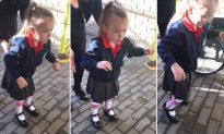 4-year-old with cerebral palsy takes first steps unaided on 1st day of school