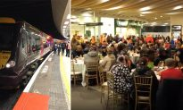 Railway station transforms into big dining hall to host 200 homeless people on Christmas Eve