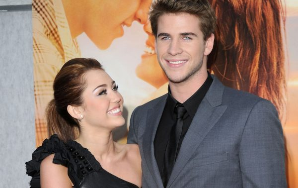 """Miley Cyrus and Liam Hemsworth at """"The Last Song"""" premiere."""
