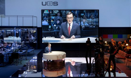 "Bryan Cranston as Howard Beale is superb and the set of ""Network"" is stunning.  (Jan Versweyveld)"
