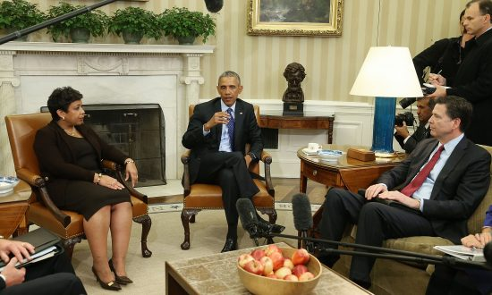President Barack Obama at a meeting with Attorney General Loretta Lynch and FBI Director James Comey (R) in the Oval Office at the White House in Washington on Jan. 4, 2016. (Mark Wilson/Getty Images)