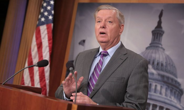 Sen. Lindsey Graham (R-SC) talks to reporters  during a news conference at the U.S. Capitol Nov. 1, 2017 in Washington. (Chip Somodevilla/Getty Images)