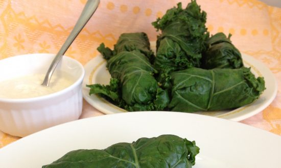 Kale and Quinoa Dolmades With Yogurt Dipping Sauce
