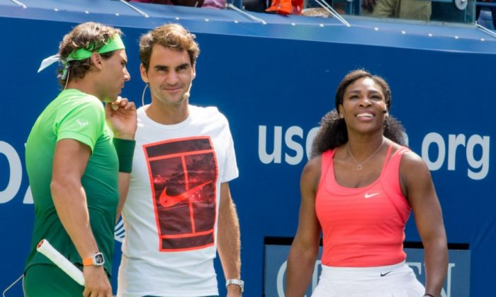 (L-R) Rafael Nadal, Roger Federer, and Serena Williams attend the 20th Annual Arthur Ashe Kids' Day at USTA Billie Jean King National Tennis Center in the Queens borough of New York City, on Aug. 29, 2015. (Steven Henry/Getty Images)