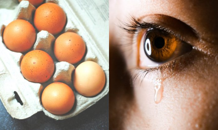 A teenager in England suffered excruciating pain after an egg she had cooked in the microwave exploded in her face, causing her to be blinded temporarily. L: Seven brown eggs on tray (Hello I'm Nik/Unsplash) R: close-up photo of human eye with tear drops. (Aliyah Jamous/Unsplash)