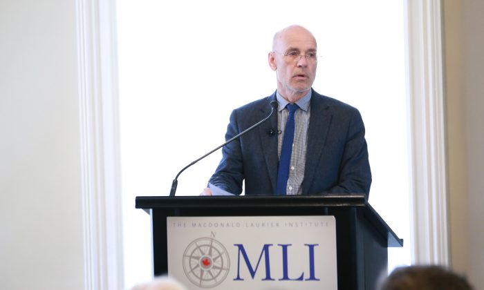 "Australian professor Clive Hamilton speaks about his ground-breaking book ""Silent Invasion"" to an audience at the Macdonald-Laurier Institute in Ottawa on Oct. 16, 2018. (Courtesy of Macdonald-Laurier Institute)"