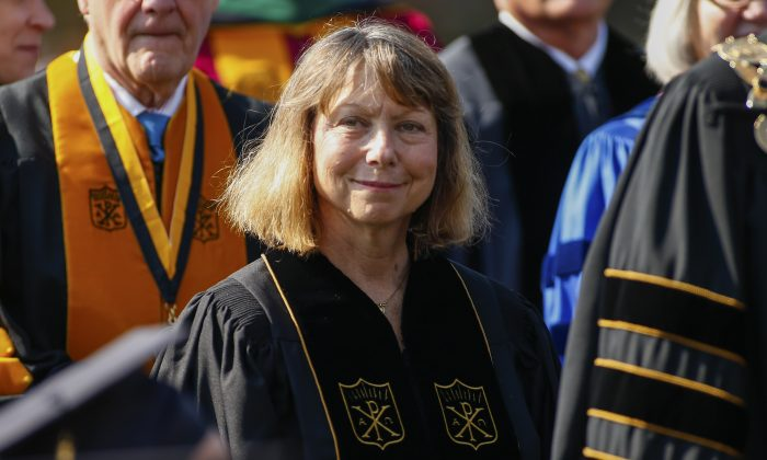 Jill Abramson, former executive editor at the New York Times walks in with faculty and staff during commencement ceremonies for Wake Forest University in Winston Salem, N.C., on May 19, 2014. (Chris Keane/Getty Images)