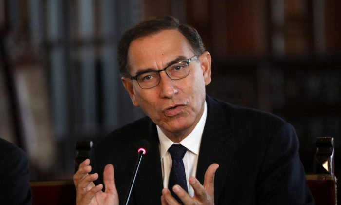 Peru's President Martin Vizcarra speaks to media at the government palace in Lima, Peru, on Oct. 29, 2018. (Reuters/Mariana Bazo)