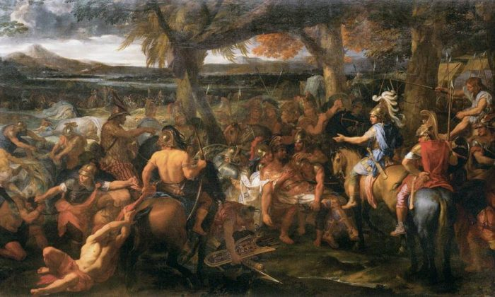 "Alexander, in blue, is considered one of greatest military commanders of all time. His ideal self was the great warrior Achilles. ""Alexander and Porus,"" 1665, by Charles le Brun. Louvre. (Public Domain)"