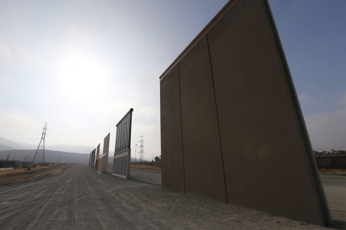 border wall prototypes are shown