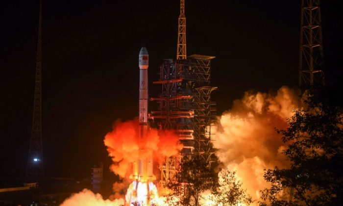 A Long March 3B rocket lifts off from the Xichang launch centre in Xichang in China's southwestern Sichuan province early on Dec. 8, 2018. (STR/AFP/Getty Images)