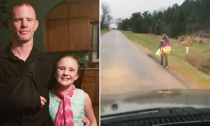 (L) Matt Cox and his 10-year-old daughter Kirsten. (R) Screenshot of the controversial bullying punishment video. (Facebook | Matt Cox)