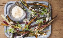 Roasted Swiss Chard Stems With a Creamy Sesame Dressing