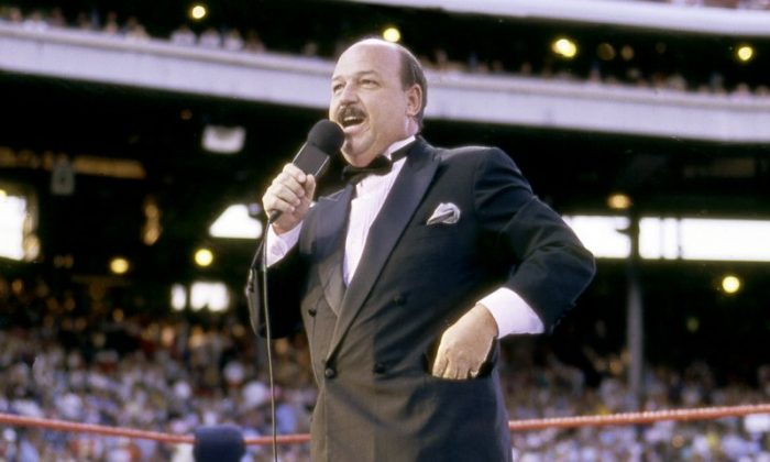 "Pro wrestling interviewer 'Mean Gene' Okerlund dies By JEFF BAENEN yesterday 1 of 2 In this July 31, 1988 photo provided by the WWE, ""Mean"" Gene Okerlund addresses the crowd before a pro wrestling event in Milwaukee (WWE via AP)"