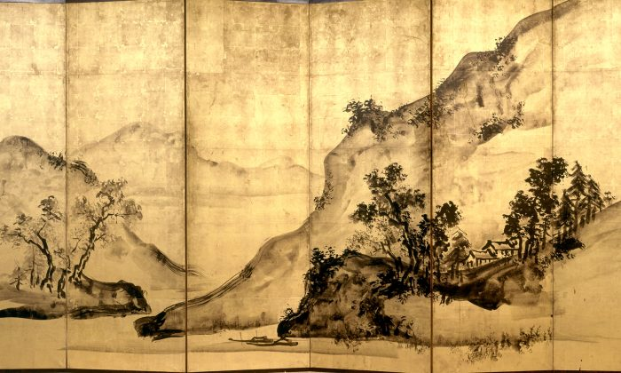 """""""Mountains and Water,"""" 1828, Edo period (1615–1868), by Tani Buncho 谷文晁.  Two six-fold screens, ink and gold-leaf on paper, each screen is 68 1/2 inches by 138 11/16 inches. (Princeton University Art Museum)"""