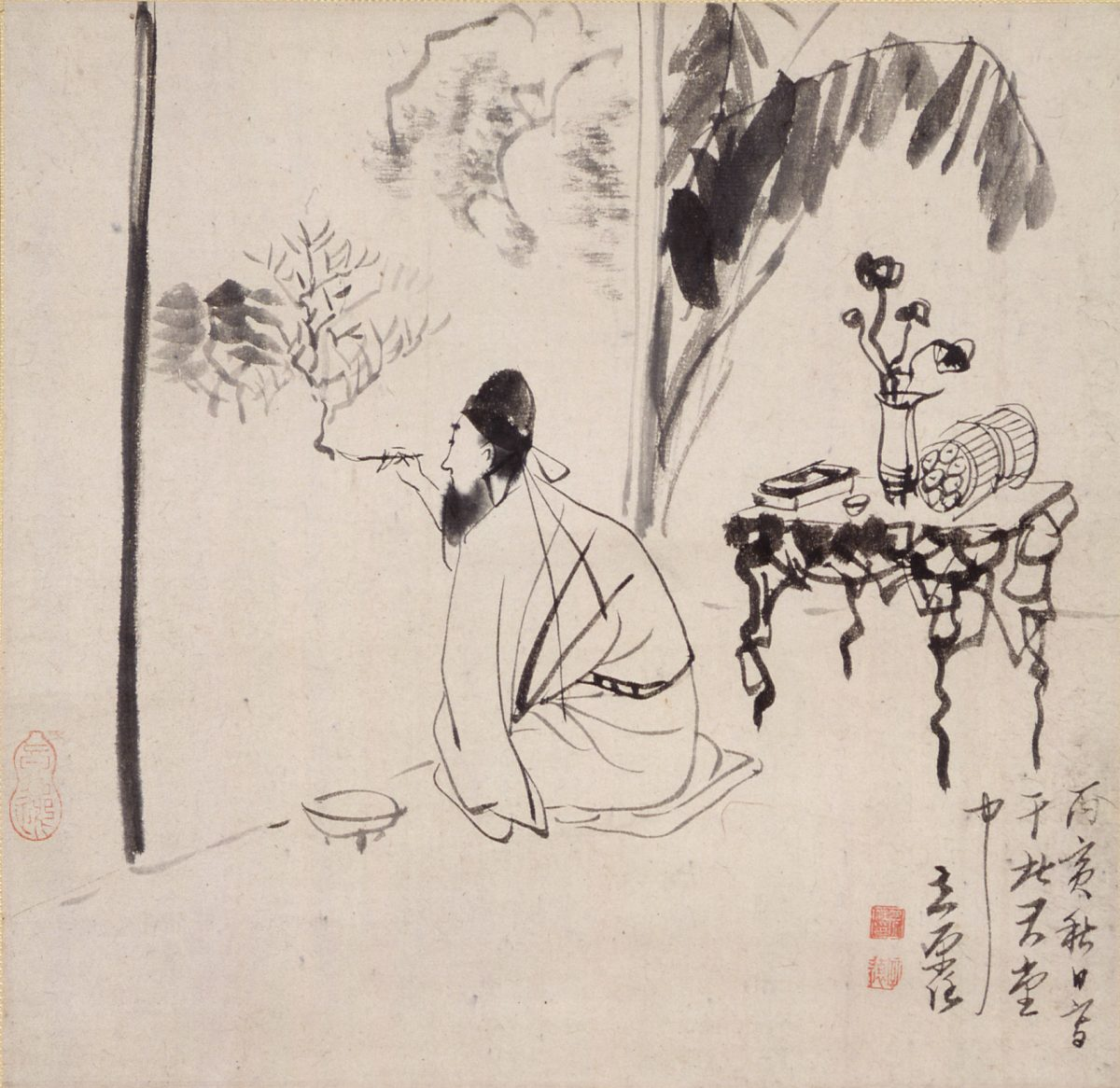 Japanese man painting ink