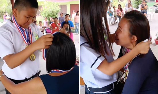 Filipino students give their academic achievement medals to their mothers, who are Overseas Filipino Workers (OFWs). (Facebook Video Screenshot   Labstore)