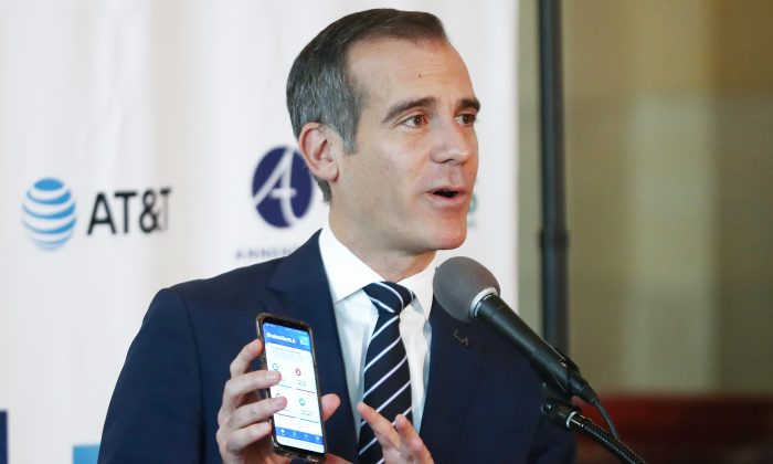 Los Angeles Mayor Eric Garcetti speaks at a press conference, announcing the launch of the ShakeAlertLA mobile app at City Hall in Los Angeles,  Calif., on Jan. 3, 2019. (Photo by Mario Tama/Getty Images)