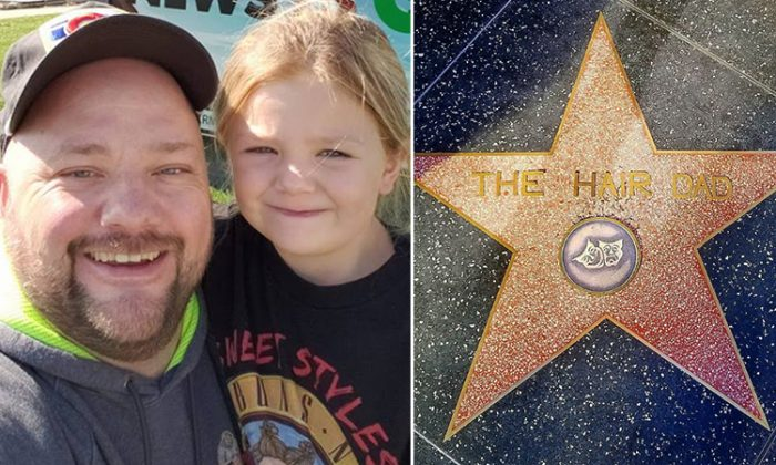 On the left, Greg Wickherst with his daughter Izzy. On the right, his name on the Hollywood Walk of Fame. (L: Facebook   Greg Wickherst, R: Instagram   thehairdad)
