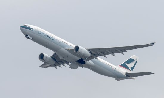 A Cathay Pacific passenger aircraft takes off from the international airport in Hong Kong, March 15, 2017. (Anthony Wallace/AFP/Getty Images)