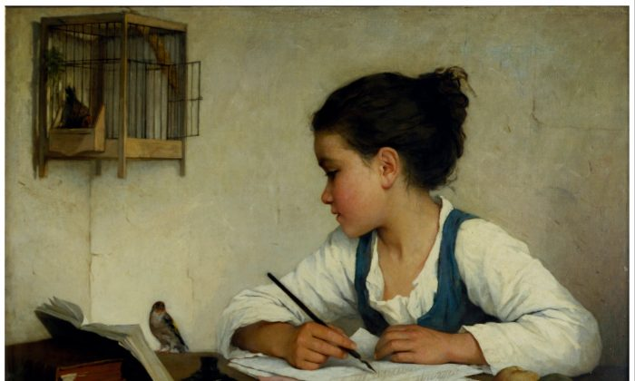 """A Girl Writing; The Pet Goldfinch"" by Henriette Browne. (Public Domain)"