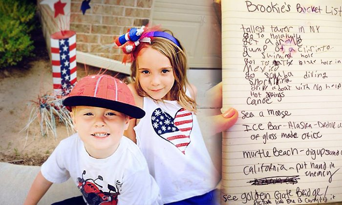 (Left) 5-year-old Jace and his 9-year-old sister Brooklyn Newville and (right) Brooklyn's bucket-list found after they both perished in a car crash. (L: Facebook | Annie Nellessen, R: Facebook | Shaneé Irie Newville)