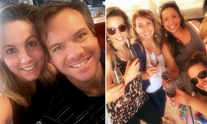 (Left) Amy Weatherly with her old boyfriend. (Right) Amy Weatherly out with a group of friends. (L: Facebook   Amy Weatherly, R: Instagram   msamyweatherly)