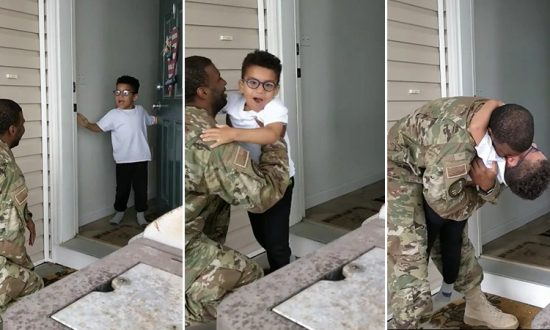 5-year-old Cade breaking down upon realizing his father, Airman Cameron Yancey, is the one knocking on the front door. (Facebook | Cameron Yancey)