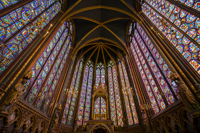 PARIS, FRANCE - July 2, 2017: Interior View of Sainte-Chapelle, royal chapel in the Gothic style, within the medieval Palais de la Cité, on the Île de la Cité in the heart of Paris - Image