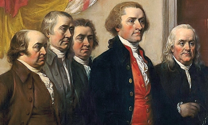 "Detail, ""Declaration of Independence"" by John Trumbull (1819), depicting the Committee of Five—John Adams, Thomas Jefferson, Benjamin Franklin, Roger Sherman, and Robert Livingston. (Public domain)"