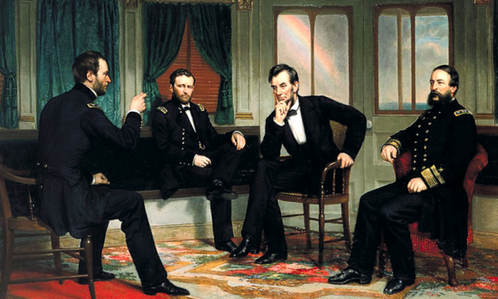 """The Peacemakers"" by George Peter Alexander Healy (1868), depicting (L–R) Maj. Gen. William Sherman, Gen. Ulysses Grant, President Abraham Lincoln, and Rear Adm. David Porter. (Public domain)"