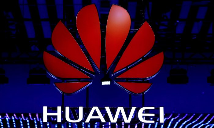 The Huawei logo is seen during the Mobile World Congress in Barcelona, Spain on Feb. 26, 2018. (Yves Herman/Reuters)