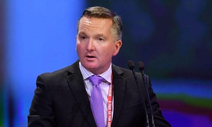 Shadow Treasurer Chris Bowen speaks to media during the 2018 ALP National Conference in Adelaide, Australia, on Dec. 16, 2018. (Mark Brake/Getty Images)