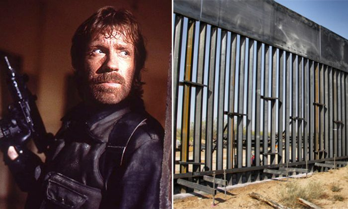 """(L) Chuck Norris in his movie, """"The Delta Force"""", and (R) the U.S. southern border wall (L: Wikimedia   Yoni S.Hamenahem, R: Getty Images   Herika Martinez)"""