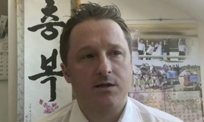 Canadian Michael Spavor, who is detained in China, in a file photo taking part in an interview from Yangi, China, on  March 2, 2017.  (AP Photo)