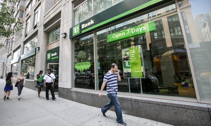 TD bank in the Chelsea neighborhood in Manhattan, New York, on July 7, 2015. (Samira Bouaou/Epoch Times)