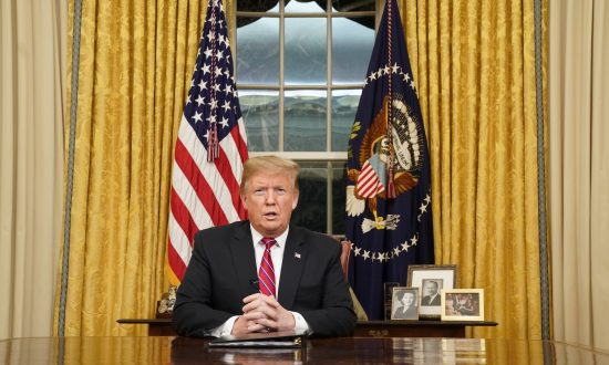 President Donald Trump speaks to the nation in his first-prime address from the Oval Office of the White House on Jan. 8, 2019. (Carlos Barria-Pool/Getty Images)