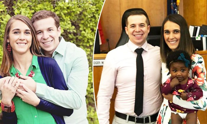 On the left, newlyweds Tori Story and her husband, Jake, pose for a photo, and on the right, the couple poses with their adopted daughter, Londyn Lou. (Facebook   Tori Strohecker Story)