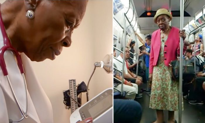 On the left, 92-year-old Dr. Melissa Freeman hard at work, and on the right, Dr. Freeman during her daily subway commute to work. (YouTube Screenshot | Good Morning America)